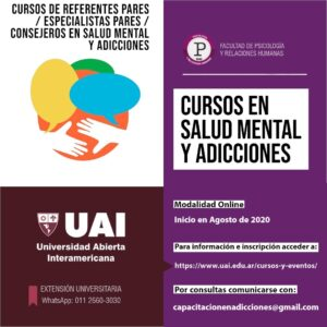 !Inscripciones abiertas para los cursos de Referentes Pares, Especialistas Pares y Consejeros en Salud Mental y Adicciones!