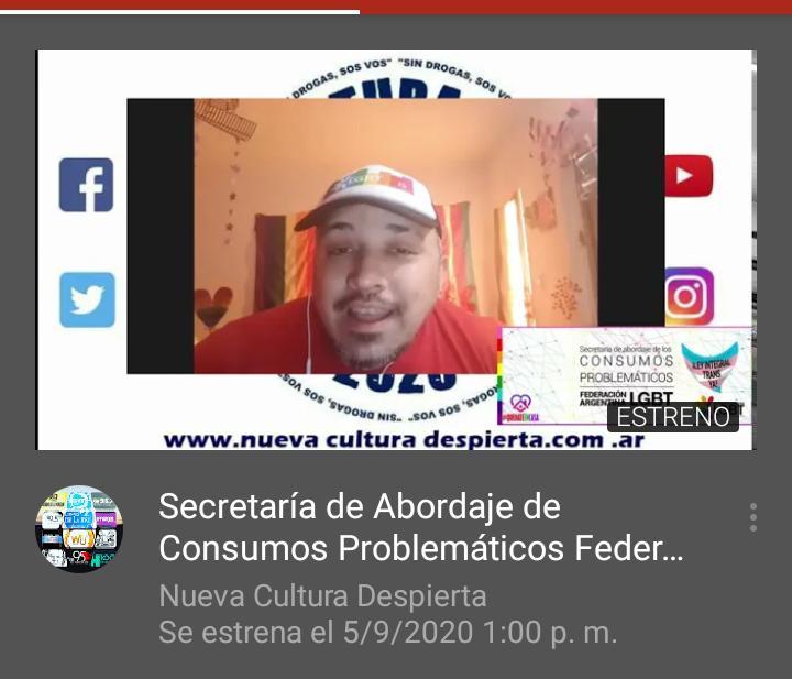 #NCD2020 CON FER ALBORNOZ ,Secretaría de Abordaje de Consumos Problemáticos Federación Argentina LGBT @ConsumosFALGBT  · Servicio comunitario