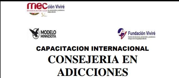 CAPACITACION INTERNACIONAL CONSEJERIA EN ADICCIONES