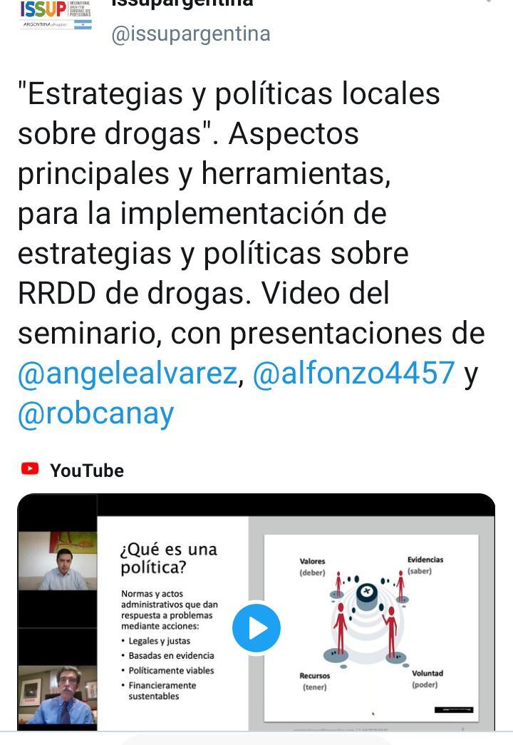 «Estrategias y políticas locales sobre drogas». Aspectos principales y herramientas, para la implementación de estrategias y políticas sobre RRDD de drogas. Video del seminario.